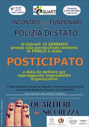 """""""Quartieri in Sicurezza"""", posticipato l'incontro previsto per stasera a Fenile di Fano"""
