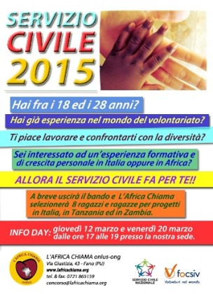 """Al via il Servizio Civile 2015 con """"L'Africa Chiama"""""""