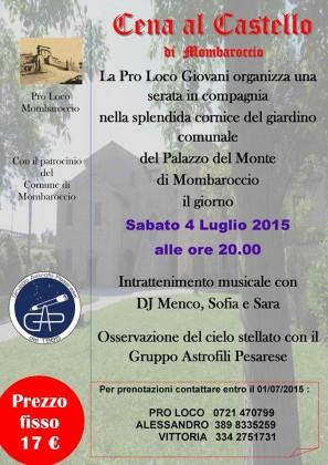 """""""Estate a Mombaroccio"""", al via sabato 4 luglio con la """"Cena al Castello"""""""