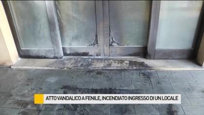 Atto vandalico a Fenile, incendiato l'ingresso di un locale – VIDEO
