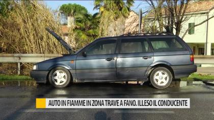 Auto in fiamme in zona Trave a Fano. Illeso il conducente – VIDEO
