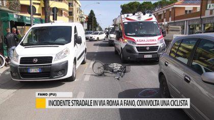 Incidente stradale in via Roma a Fano, coinvolta una ciclista – VIDEO
