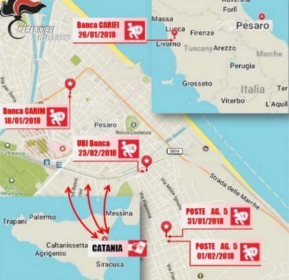 Scoperta e disarticolata una banda di tre rapinatori siciliani che dal gennaio al febbraio 2018