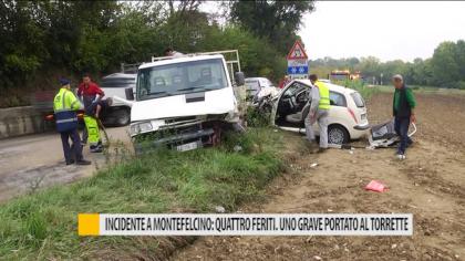 Incidente a Montefelcino: quattro feriti. Uno grave portato al Torrette – VIDEO