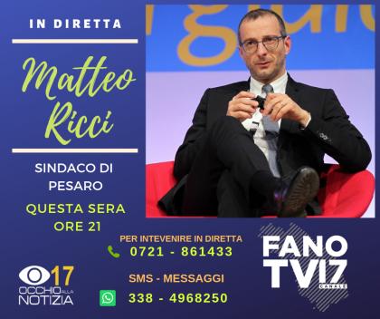 Il sindaco di Pesaro Ricci, questa sera in diretta su Fano TV
