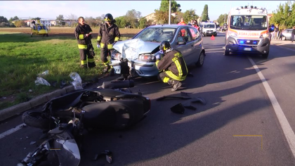 Incidente tra auto e moto a Sant'Orso di Fano: interviene l'eliambulanza – VIDEO