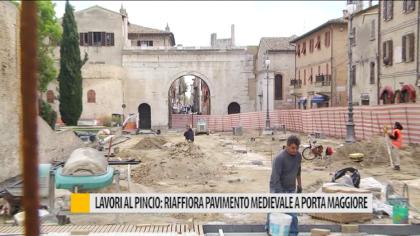 Lavori al Pincio: riaffiora pavimento medievale a Porta Maggiore  – VIDEO