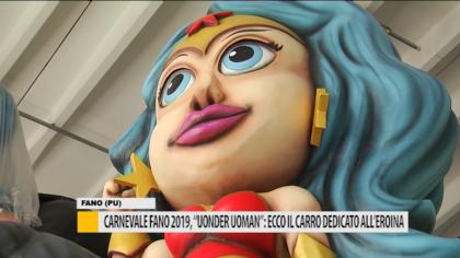 """Carnevale Fano 2019, """"Uonder Uoman"""": ecco il carro dedicato all'eroina – VIDEO"""