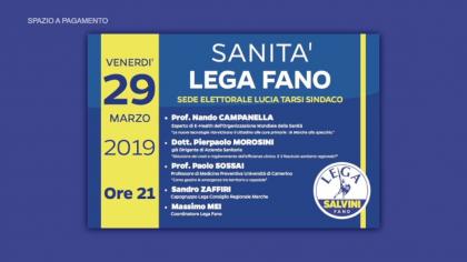 """Convegno """"Sanità – Lega Fano"""" – Sede elettorale Lucia Tarsi sindaco (29 marzo 2019)"""