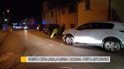 Incidenti a catena lungo la flaminia a Cuccurano. 4 feriti e 6 auto coinvolte – VIDEO