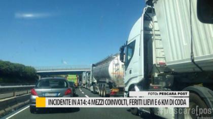 Incidente A14: 4 mezzi coinvolti, feriti lievi autostrada chiusa e 6 km di coda – VIDEO