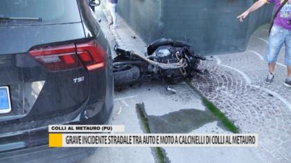 Grave incidente stradale tra auto e moto a Calcinelli di Colli al Metauro – VIDEO
