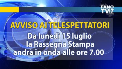 FanoTV: Novità in arrivo da lunedì. Rassegna Stampa ore 7 e S. Messa da Loreto ore 7.30