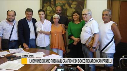 Il comune di Fano premia il campione di bocce Riccardo Campanelli – VIDEO