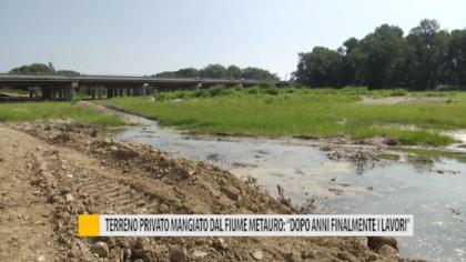 """Terreno privato mangiato dal fiume Metauro: """"Dopo anni finalmente i lavori"""" – VIDEO"""