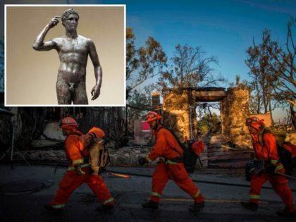 Incendi in California, le fiamme minacciano il Getty Museum: a rischio l'Atleta di Fano