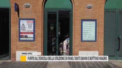Furto all'edicola della stazione di Fano. Tanti danni e bottino magro – VIDEO